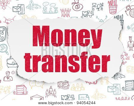 Business concept: Money Transfer on Torn Paper background