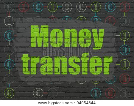 Business concept: Money Transfer on wall background