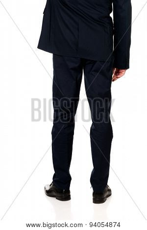 Back view of a men in smart clothes.