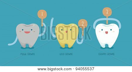 Metal , ceramic,gold crows of dental