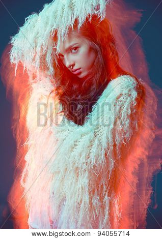 Art fashion portrait abstract color background