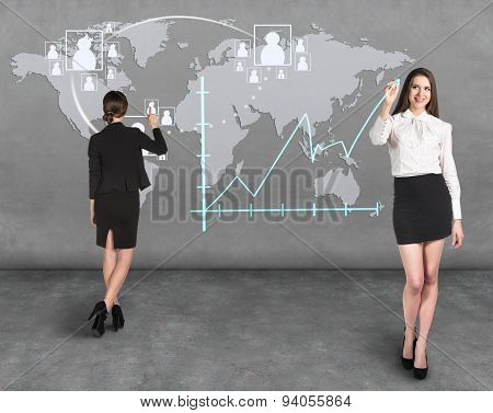 Business woman draw a map on the wall
