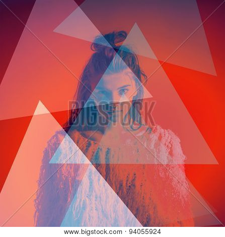 Art fashion portrait abstract color triangles on face