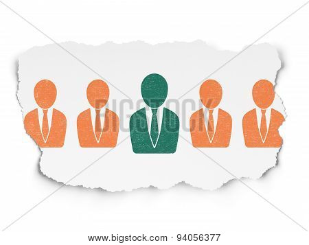 Business concept: business man icon on Torn Paper background