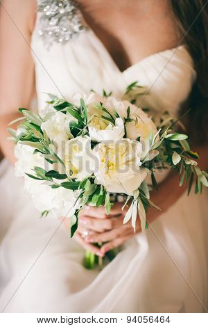 Wedding Bouquet White Peonies