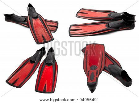 Set Of Red Swim Fins For Diving
