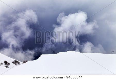 Off-piste Slope In Fog