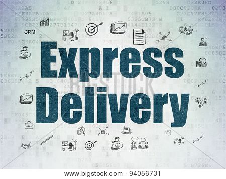Finance concept: Express Delivery on Digital Paper background