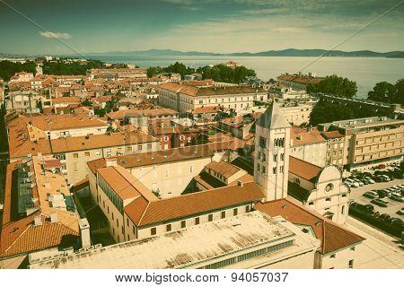 Zadar harbor, Dalmatia, Croatia - retro style postcard