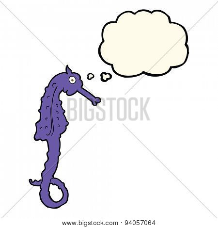 cartoon sea horse with thought bubble