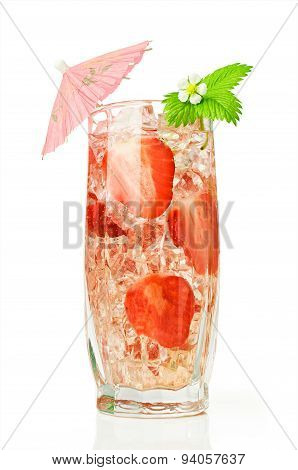 Strawberry Cocktail With Fresh Berries And Umbrella