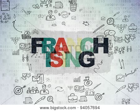 Business concept: Franchising on Digital Paper background
