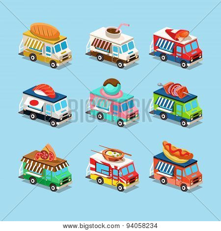 Vans with Food in Style an Isometric