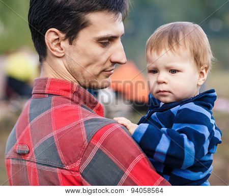Father and son outdoors