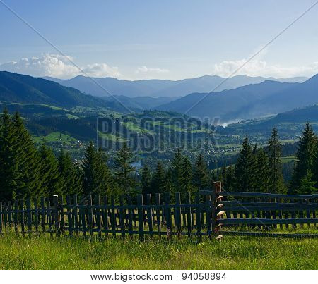 Rural Landscape At Early Morning With Mountains