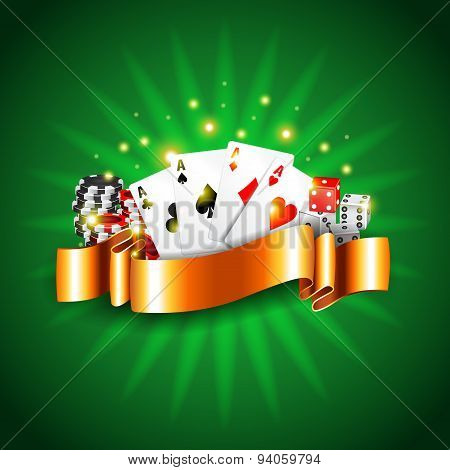 Luxury Casino Background With Cards Vector