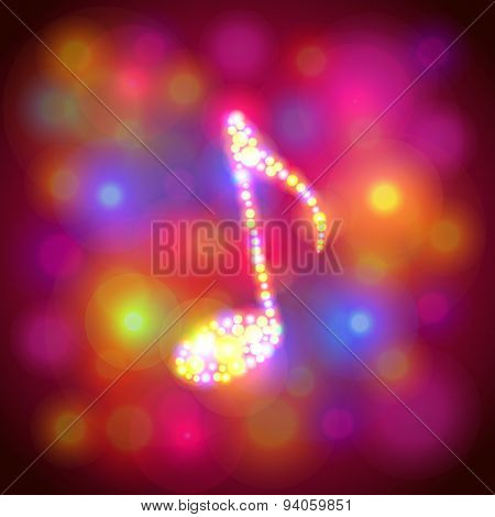 Note Symbol From Colorful Bokeh Vector Background