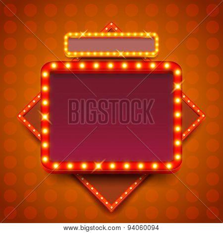 Retro Poster With Neon Lights Square Board