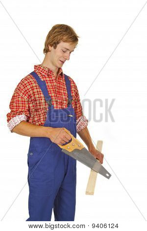 Carpenter With Handsaw