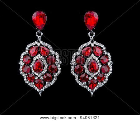 Pear Diamonds Earrings. red gems