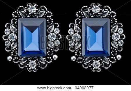 Pear Diamonds Earrings. blue gems