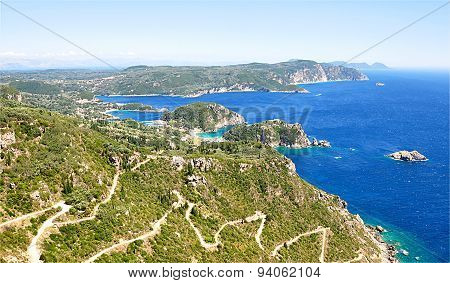 view of the landscape on the island of Corfu, Greece, Europe