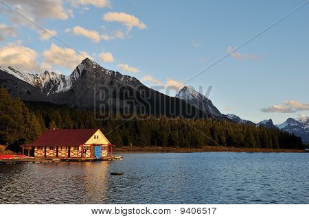 The Boathouse At Maligne Lake At Sunset, Jasper
