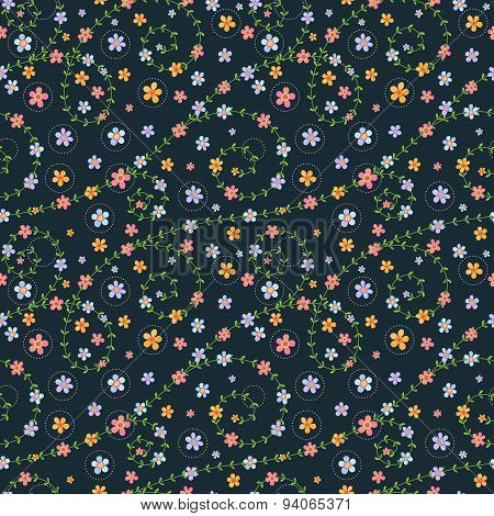 Floral Seamless Pattern With Multicolored Flowers