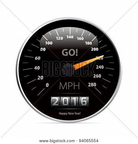 Calendar 2016 in speedometer car.