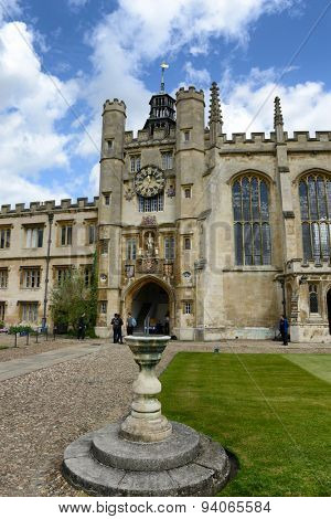 CAMBRIDGE, ENGLAND - MAY 13: The historical Clock Tower of Trinity College, Cambridge University, Cambridge, UK viewed from the Great Court on May 13, 2015
