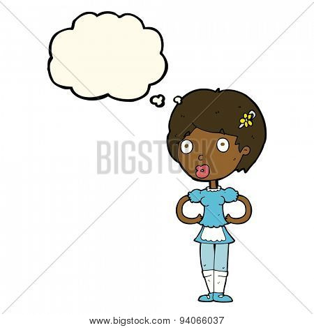 cartoon woman in french maid outfit with thought bubble