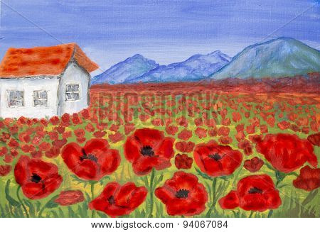 House On Meadow With Red Poppies, Painting