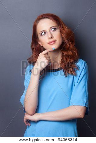 Portrait Of A Beautiful Redhead Girl