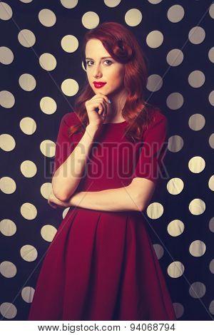 Beautiful Redhead Girl In Red Dress