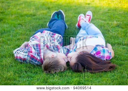 Young Teen Couple Kissing