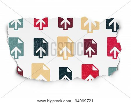 Web development concept: Upload icons on Torn Paper background