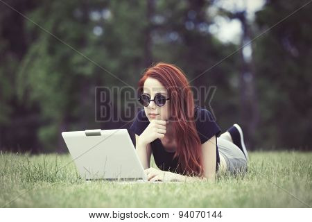 Girl In Indie Style Clothes With Laptop Computer