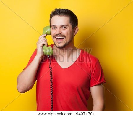Guy With Green Retro Dial Phone