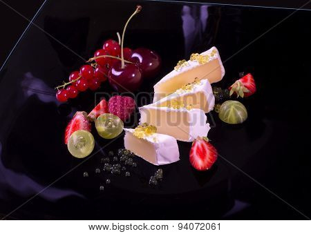 Camembert With Honey Caviar And Fresh Berries