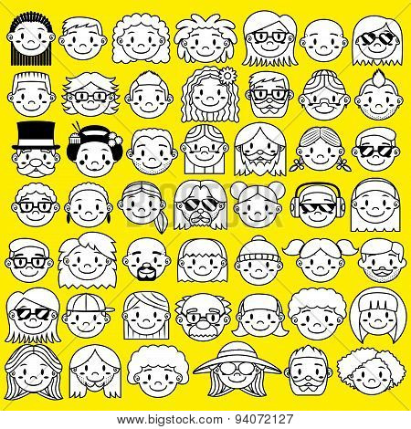 A Set Of Different Cute Faces Isolated