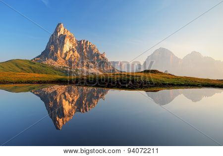 Mountain Lake Reflection, Dolomites, Passo Giau