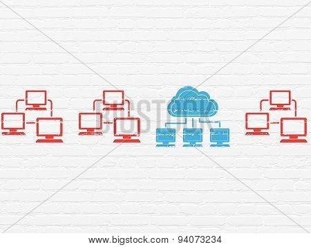 Cloud networking concept: cloud network icon on wall background