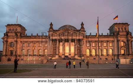 Reichstag Building In The Evening, Berlin, Germany