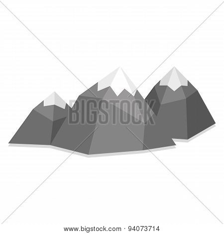 Vector Low Poly Style Group Mountains Isolated