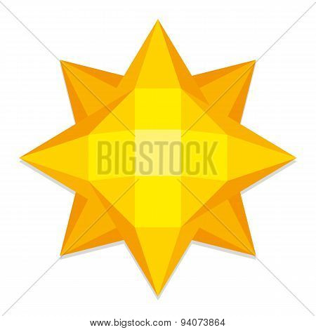 Vector Low Poly Style Yellow Sun Isolated