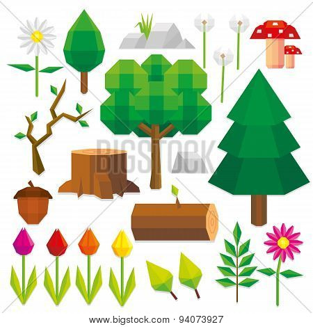 Vector Set Of Low Poly Style Nature Elements Isolated