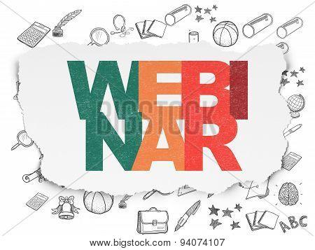 Studying concept: Webinar on Torn Paper background