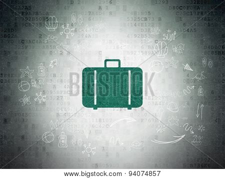 Travel concept: Bag on Digital Paper background