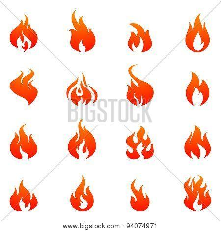 Fire Flat Icon Set