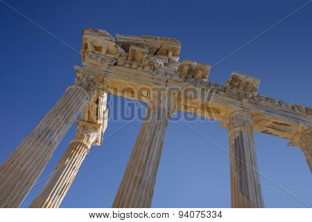 Ruins Of Athena Temple In Side Turkey On The Coast